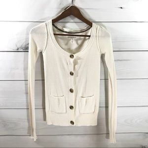 AEROPOSTALE Cream Cardigan Sweater Button Pockets
